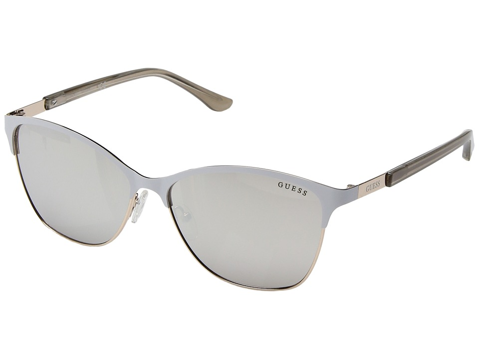 GUESS - GF6033 (White/Silver/Smoke Mirror Lens) Fashion Sunglasses