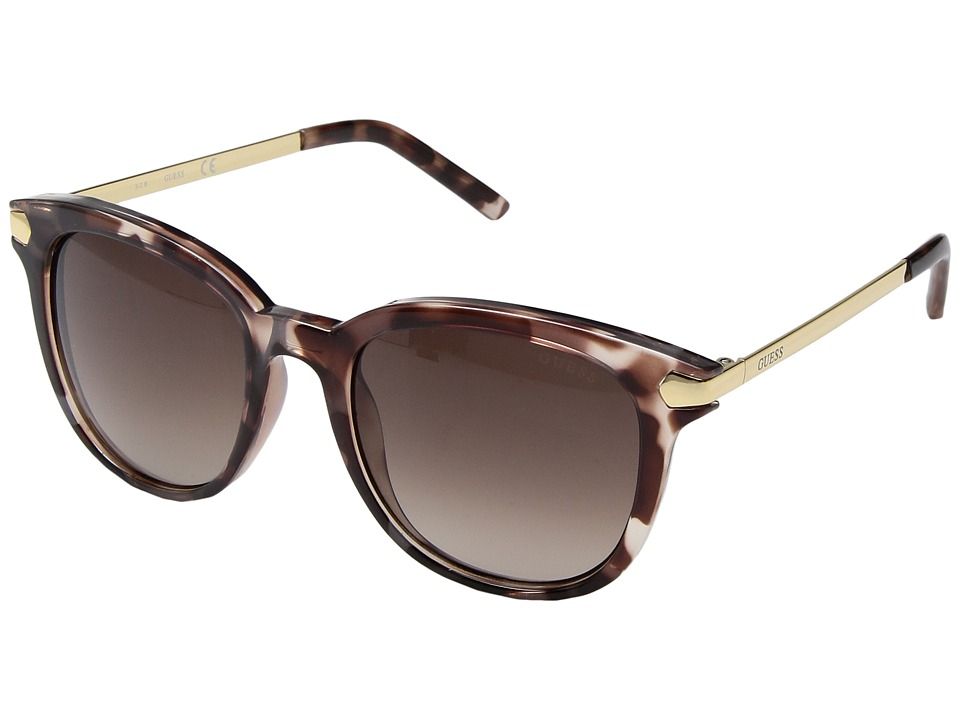 GUESS - GF6022 (Peach Havana/Brown Gradient Lens) Fashion Sunglasses