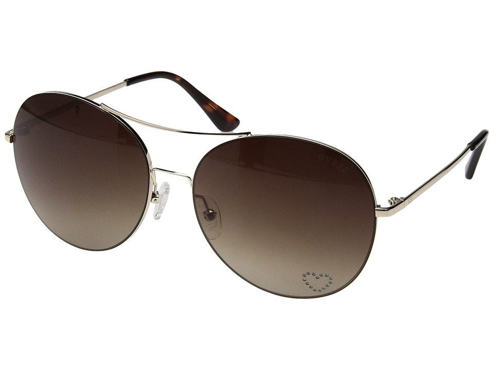 GUESS - GF6027 (Gold/Brown Gradient Lens) Fashion Sunglasses