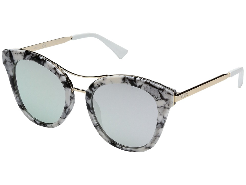 GUESS - GF0304 (Black/White Marble/Smoke Mirror Lens) Fashion Sunglasses
