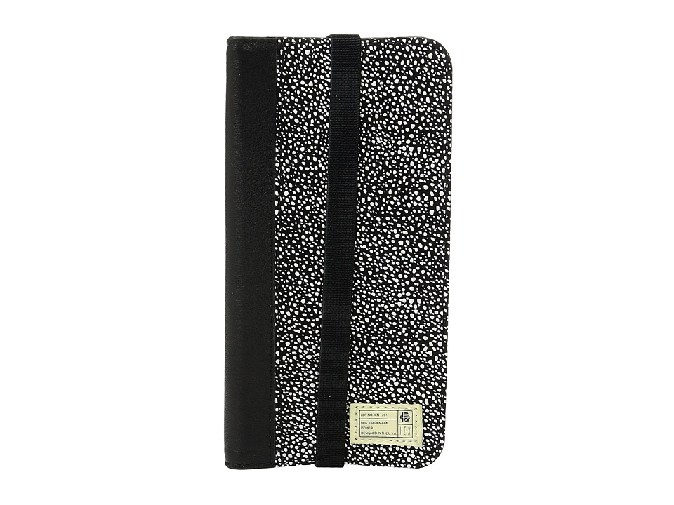 HEX - Icon Wallet iPhone 7 (Black/White Stingray Leather) Cell Phone Case