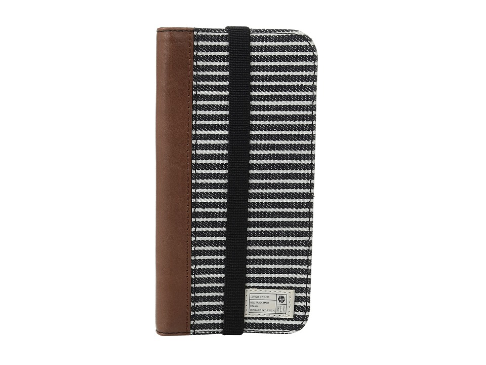 HEX - Icon Wallet iPhone 7 (Black/Grey Stripe Canvas) Cell Phone Case