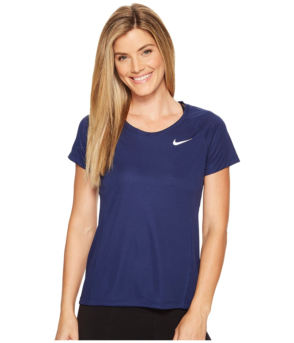 Nike - Dry Miler Short Sleeve Running Top (Binary Blue/Binary Blue) Women's Clothing