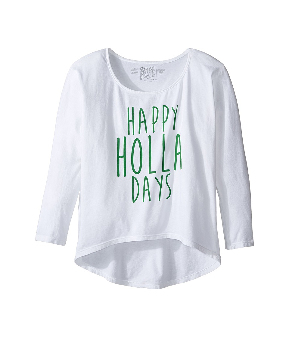 The Original Retro Brand Kids - Happy Holla Days 3/4 Dolman Tee (Little Kids/Big Kids) (White) Girl's T Shirt