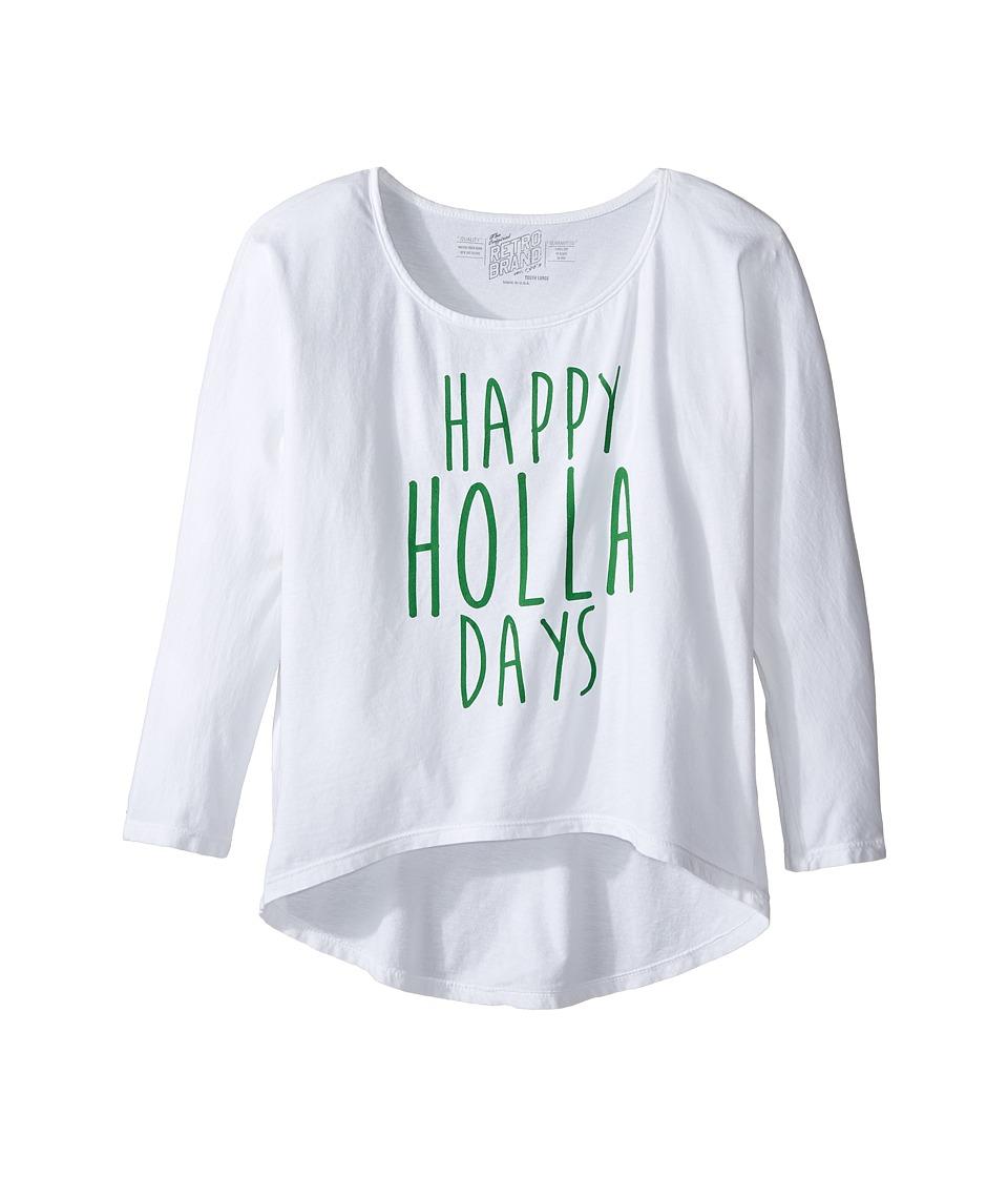 The Original Retro Brand Kids - Happy Holla Days 3/4 Dolman Tee (Little Kids/Big Kids) (White) Girl's T Shirt