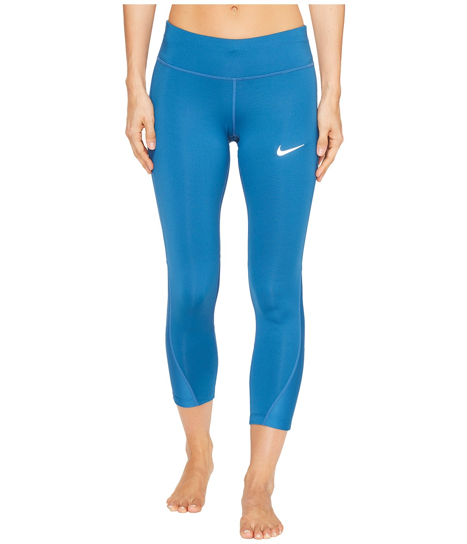 Nike - Power Running Crop (Industrial Blue/Industrial Blue) Women's Casual Pants