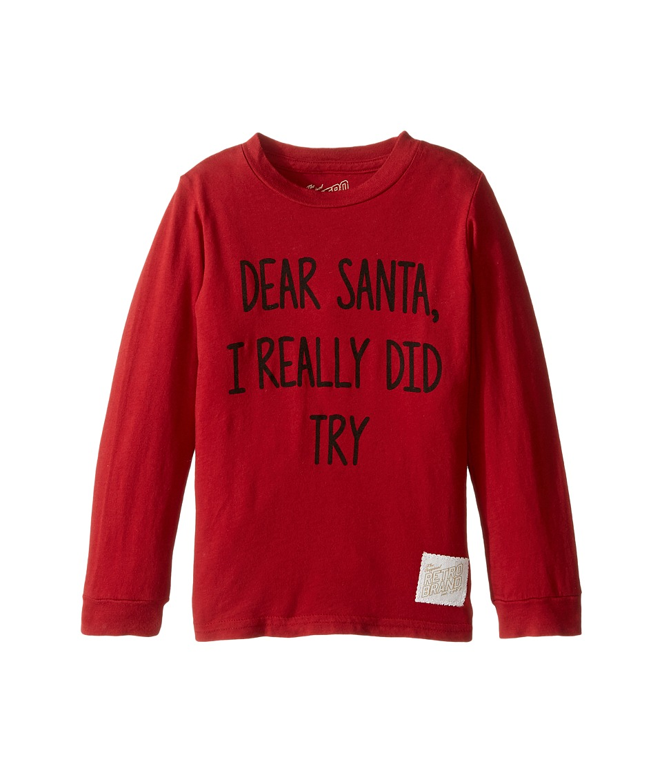 The Original Retro Brand Kids - Dear Santa I Really Did Try Long Sleeve Vintage Cotton Tee (Toddler) (Dark Red) Boy's T Shirt