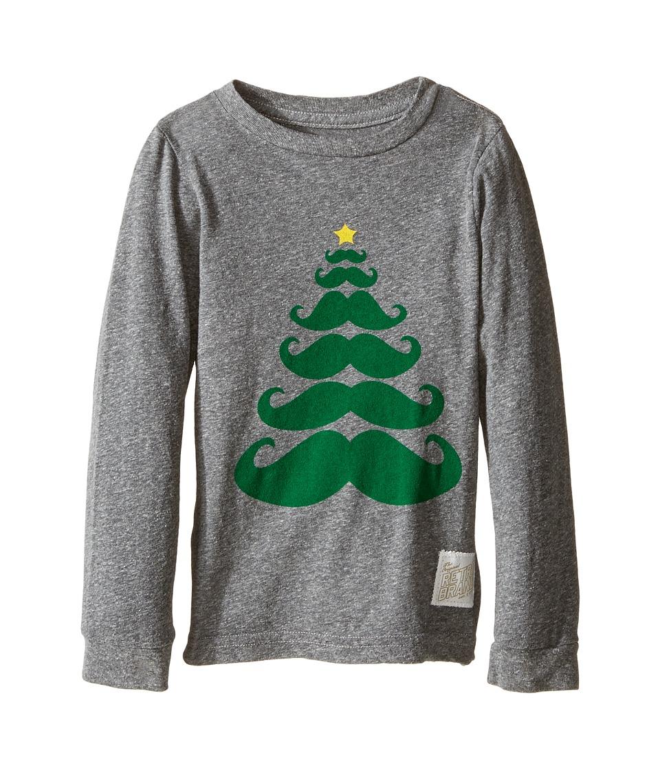 The Original Retro Brand Kids - Long Sleeve Tri-Blend Mustache X-Mas Tree Tee (Toddler) (Streaky Grey) Boy's T Shirt