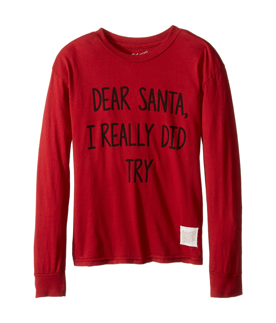 The Original Retro Brand Kids - Dear Santa I Really Did Try Long Sleeve Vintage Cotton Tee (Little Kids/Big Kids) (Dark Red) Boy's T Shirt
