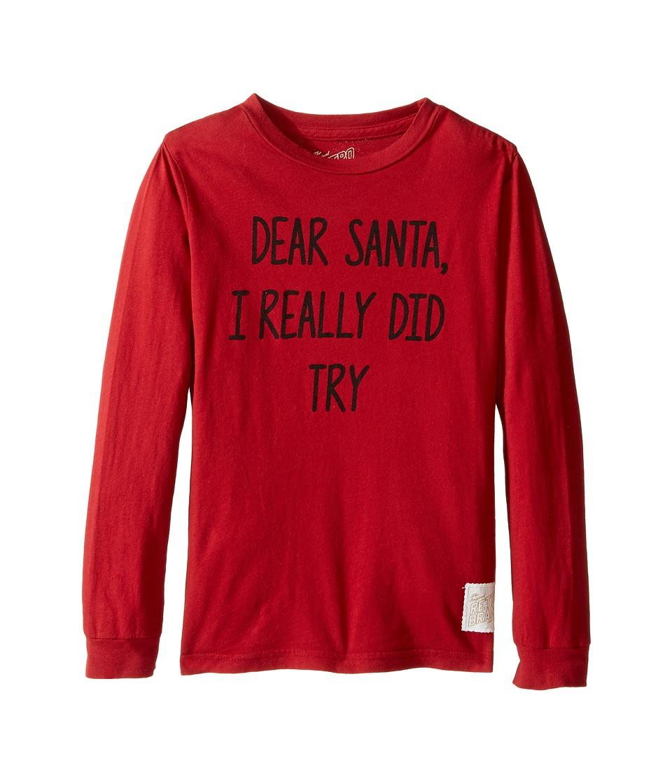 The Original Retro Brand Kids Dear Santa I Really Did Try Long Sleeve Vintage Cotton Tee (Little Kids/Big Kids) (Dark Red) Boy's T Shirt