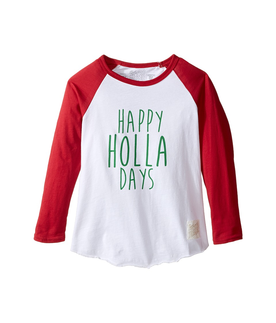 The Original Retro Brand Kids - Happy Holla Days Long Sleeve Raglan (Toddler) (White/Dark Red) Boy's T Shirt