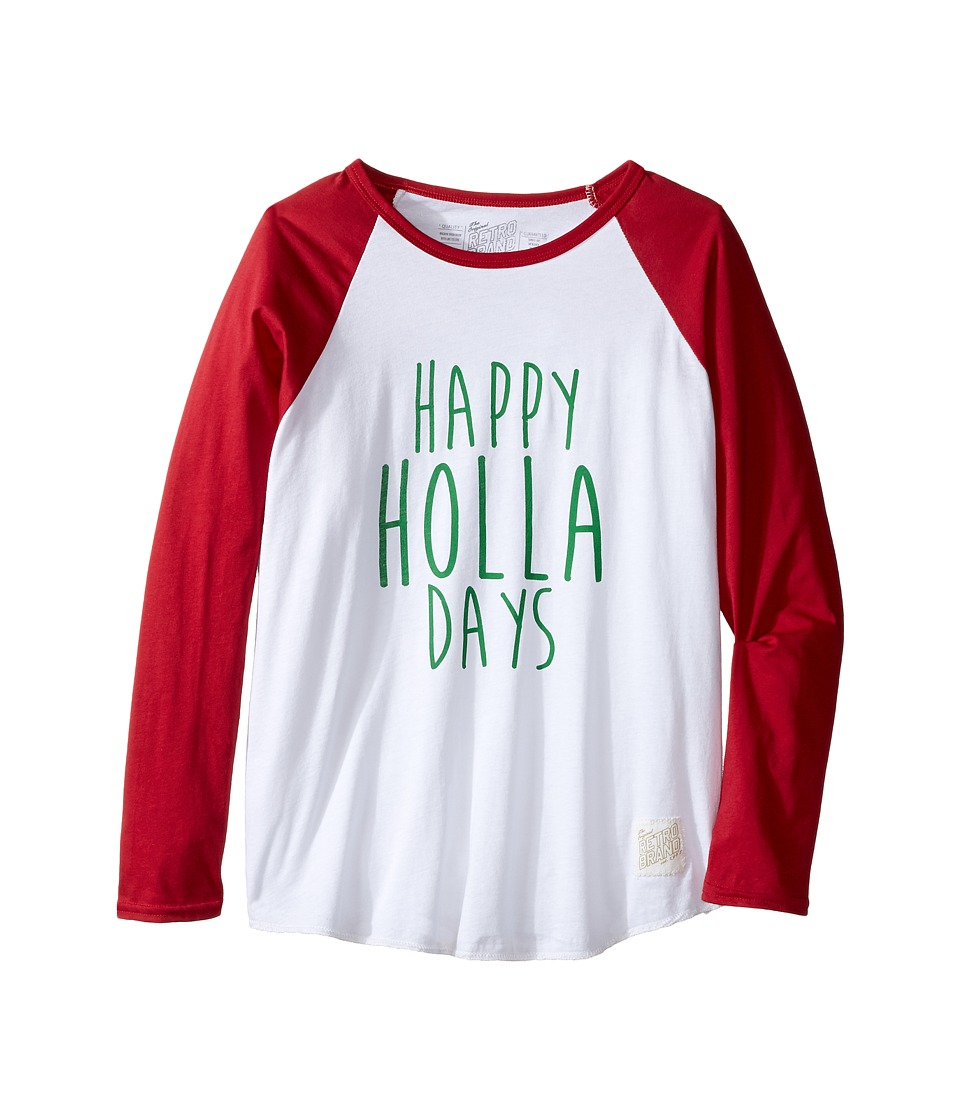 The Original Retro Brand Kids - Happy Holla Days Long Sleeve Raglan (Little Kids/Big Kids) (White/Dark Red) Boy's T Shirt