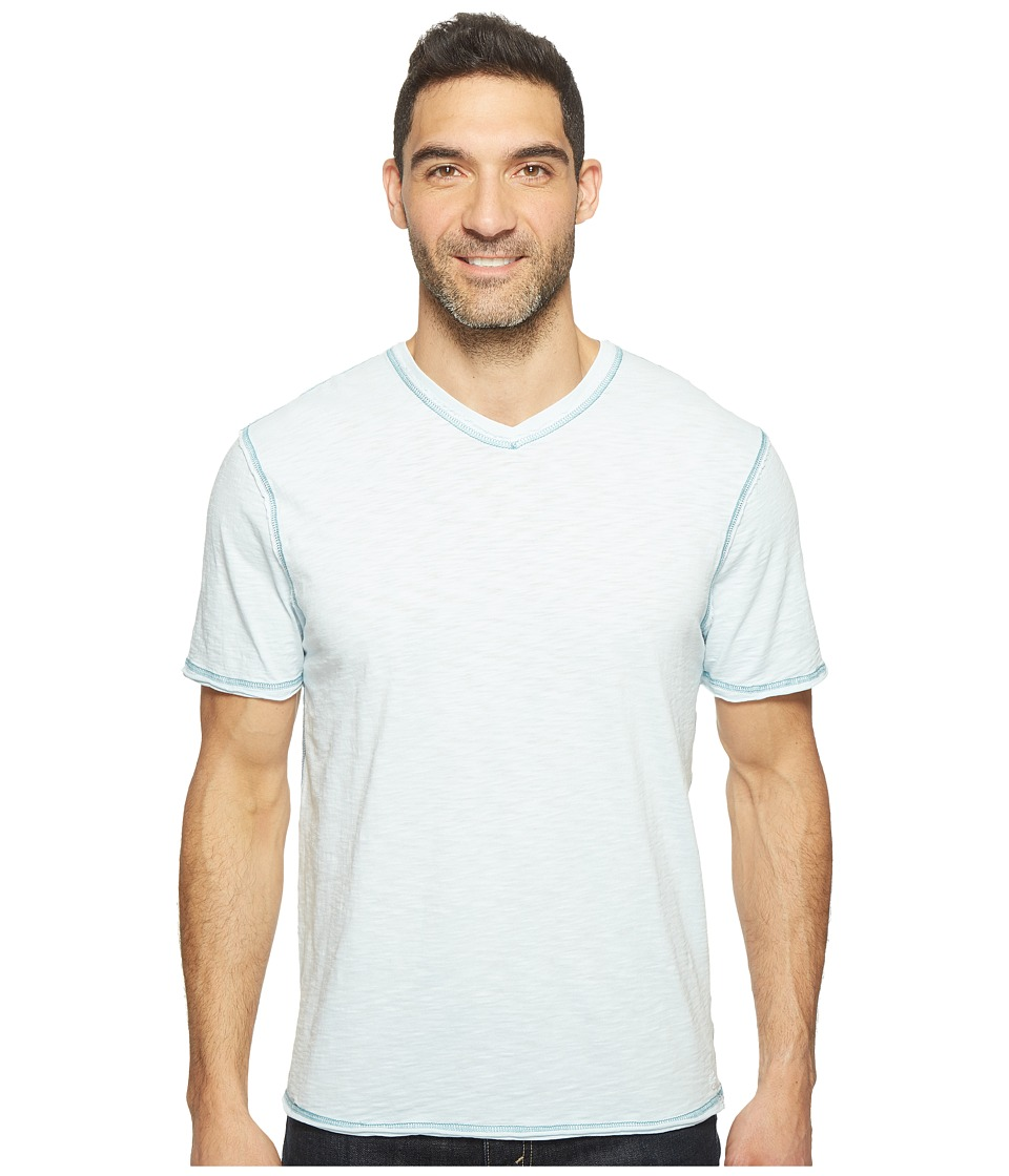 True Grit - Heritage Slub Short Sleeve V-Neck Tee w/ Contrast Stitch (Pale Pool) Men's Clothing