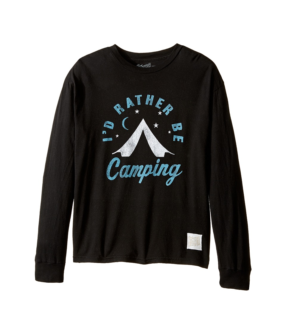 The Original Retro Brand Kids - ID Rather Be Camping Long Sleeve Vintage Cotton Tee (Big Kids) (Black) Boy's T Shirt