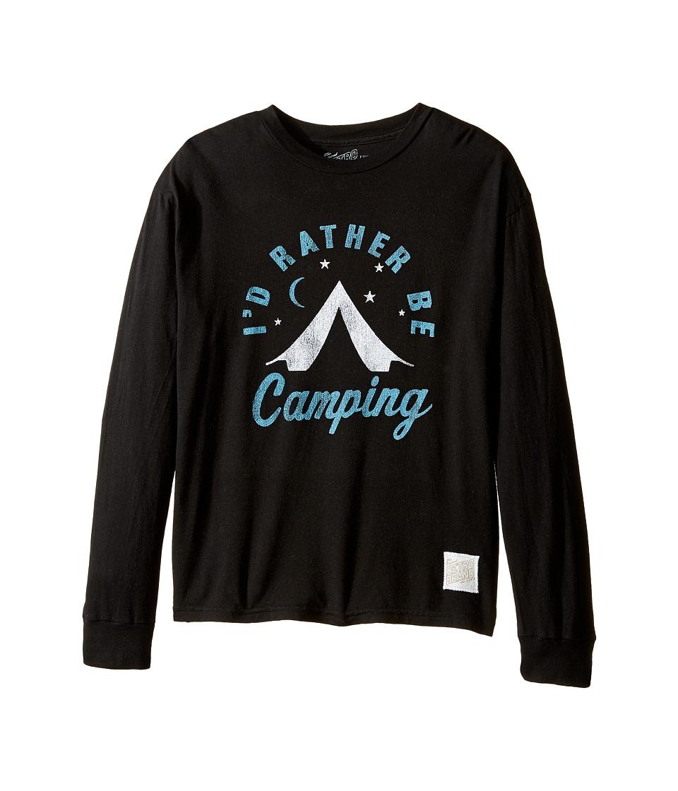 The Original Retro Brand Kids - ID Rather Be Camping Long Sleeve Vintage Cotton Tee (Big Kids) (Black) Boy's T Shirt