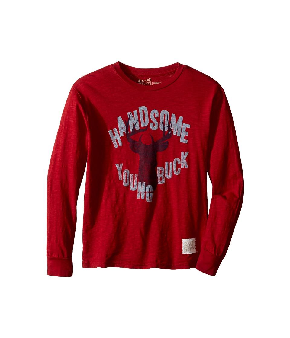 The Original Retro Brand Kids - Handsome Young Buck Long Sleeve Vintage Cotton Slub Tee (Big Kids) (Dark Red) Boy's T Shirt