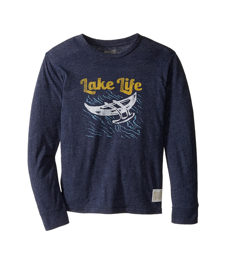 The Original Retro Brand Kids - Lake Life Long Sleeve Tri-Blend Tee (Big Kids) (Streaky Grey) Boy's T Shirt