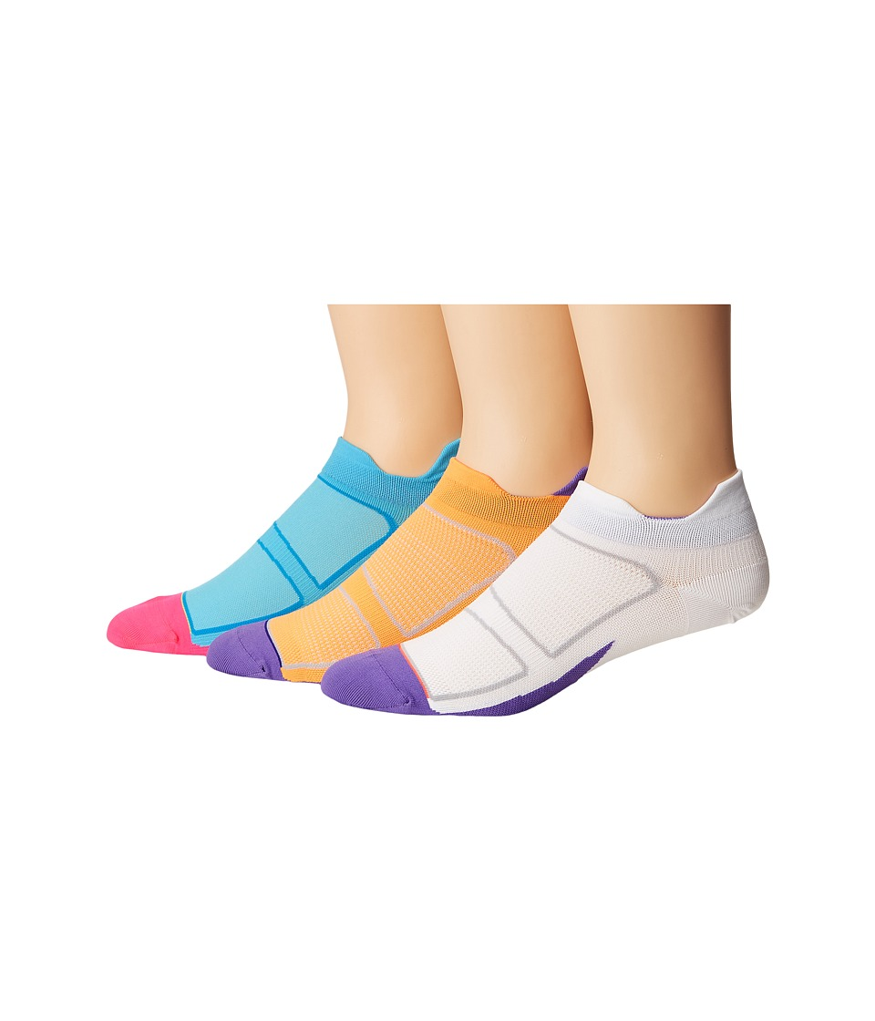 Feetures - Elite Ultra Light No Show Tab 3-Pair Pack (Firecracker/Iris/White/Iris/Sky Blue/Reflector) No Show Socks Shoes