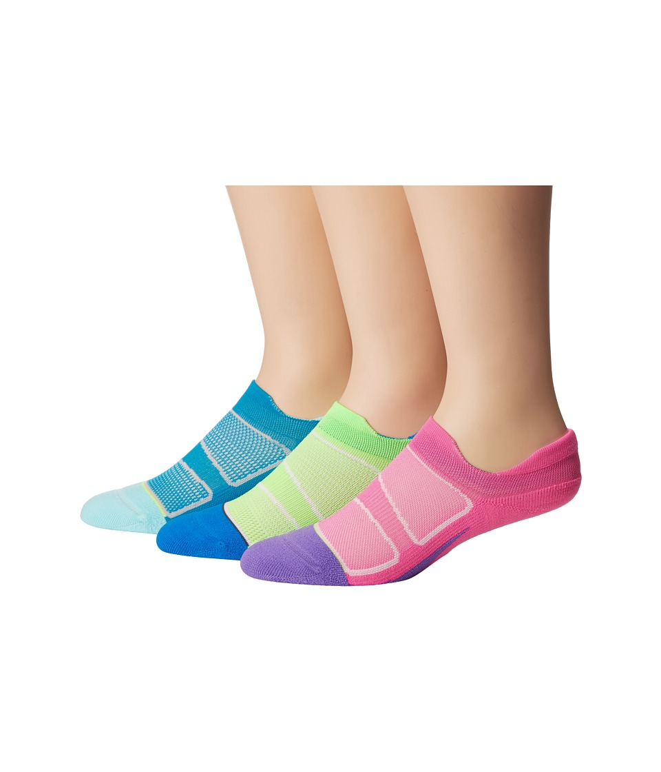 Feetures - Elite Light Cushion No Show Tab 3-Pair Pack (Capri/Pink Pop/Volt/Carbon/Pink Pop/Iris) No Show Socks Shoes