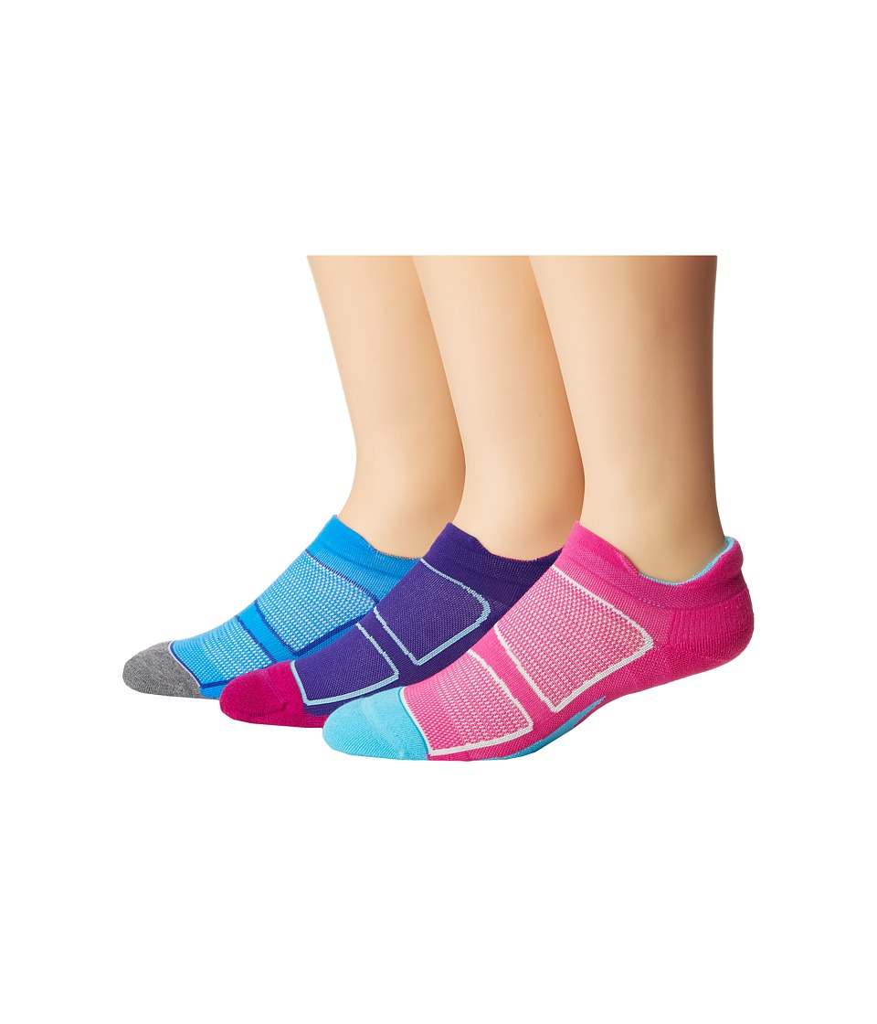 Feetures - Elite Max Cushion No Show Tab 3-Pair Pack (Wisteria Rose/Reflector/Bright Blue/Lava/Iris/Hawaiian Blue) No Show Socks Shoes