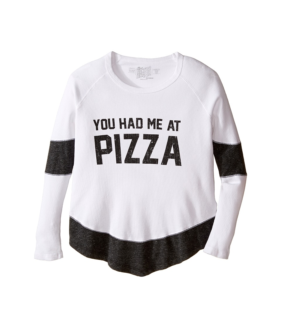 The Original Retro Brand Kids - You Had Me at Pizza Thermal Contrast Pullover (Big Kids) (White/Streaky Grey) Girl's Clothing