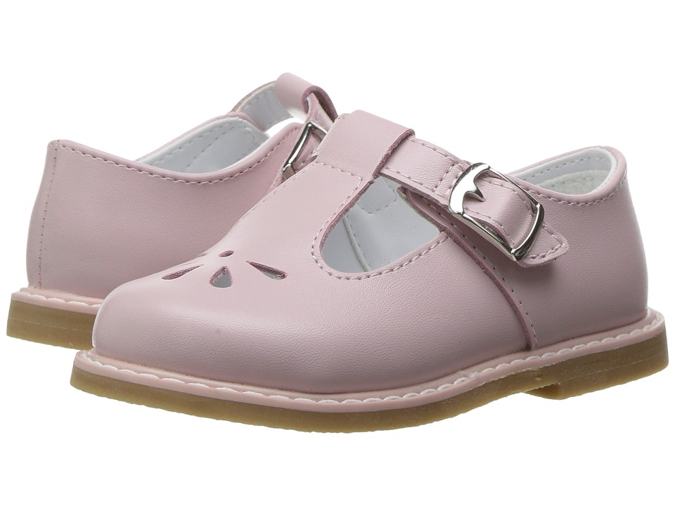 Baby Deer - Leather T-Strap with Perforations (Infant/Toddler) (Pink) Girl's Shoes