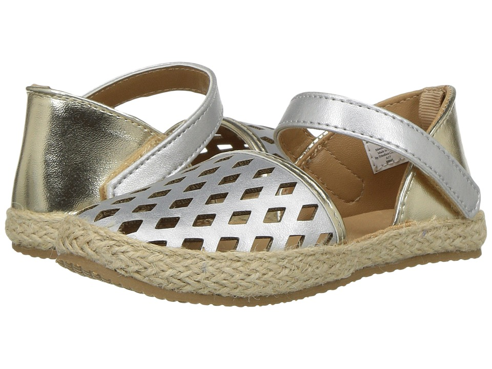 Baby Deer - Espadrille with Chop Outs (Infant/Toddler) (Silver/Gold) Girl's Shoes