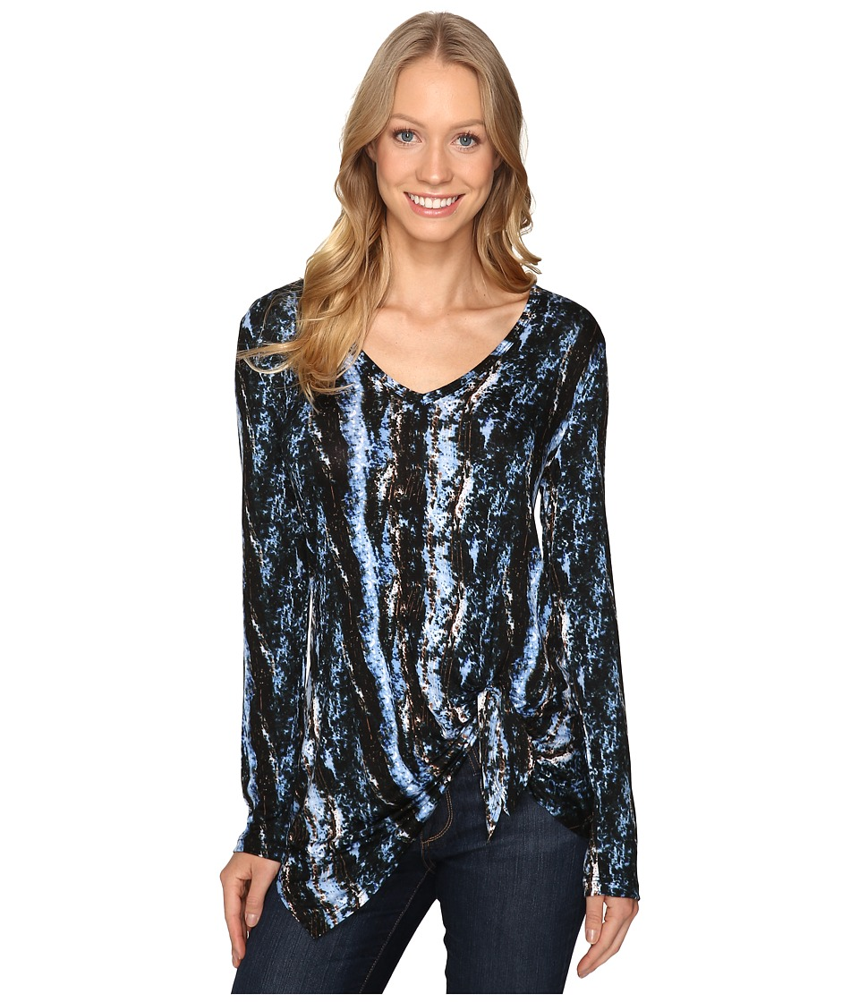Karen Kane - Asymmetric Tie Side Top (Print) Women's Long Sleeve Pullover