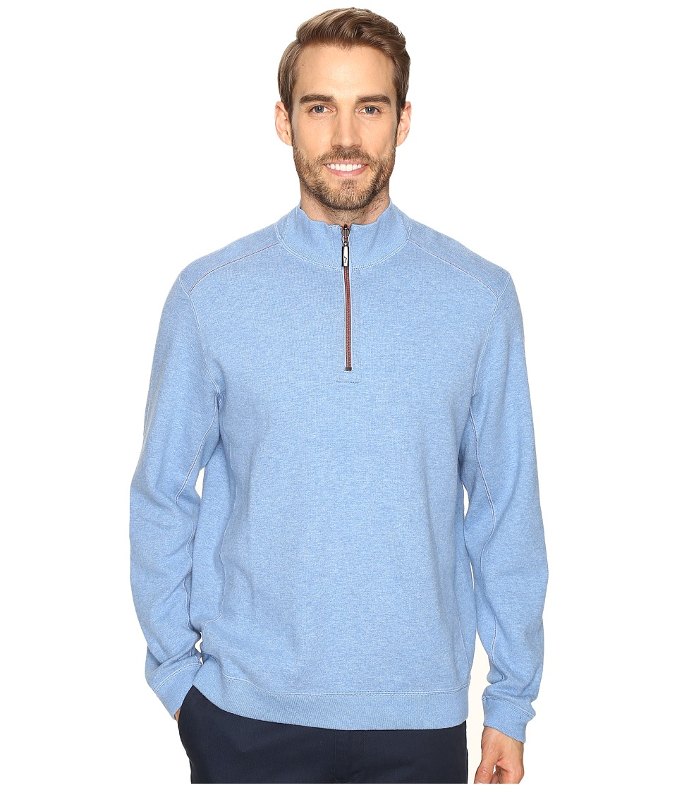 Tommy Bahama - Reversible New Flip Side Pro 1/2 Zip (Banff Blue Heather) Men's Clothing