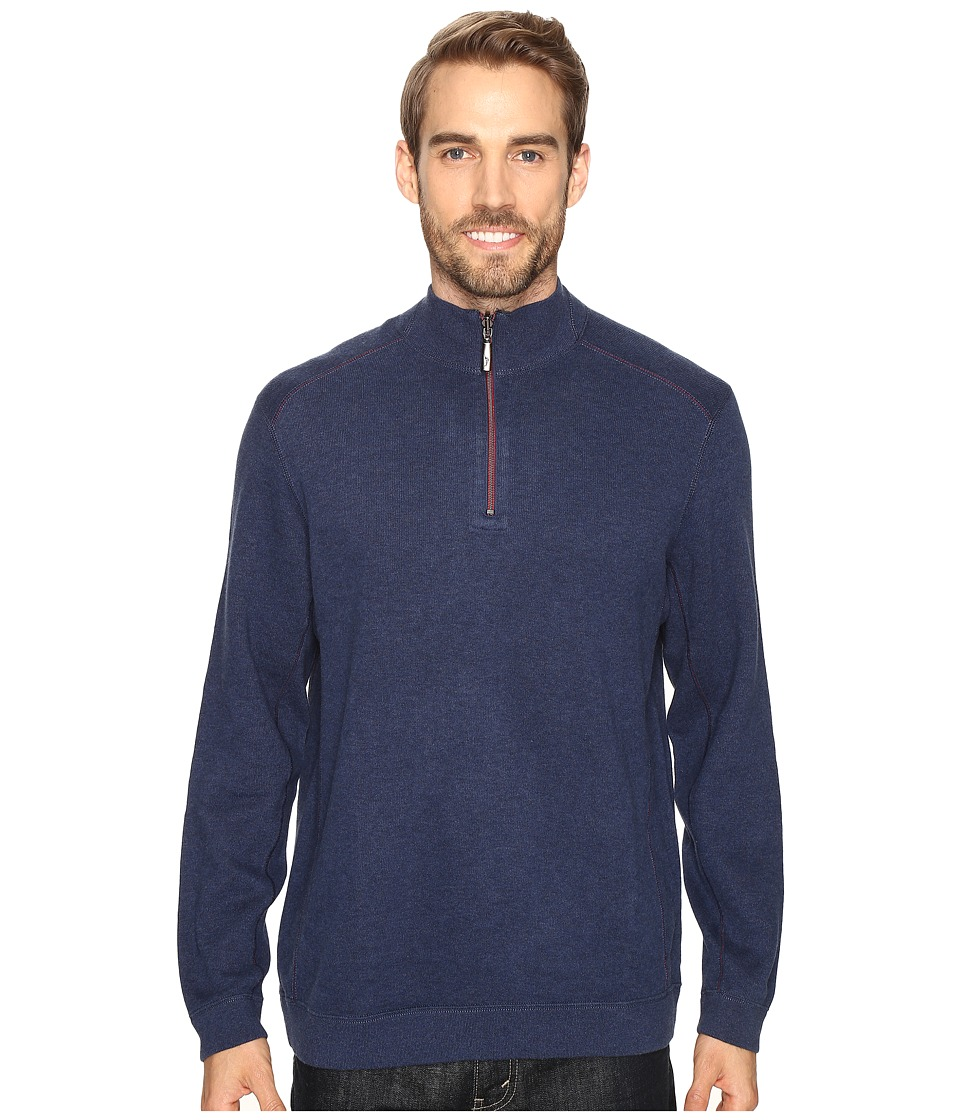 Tommy Bahama - Reversible New Flip Side Pro 1/2 Zip (Coastline Heather) Men's Clothing