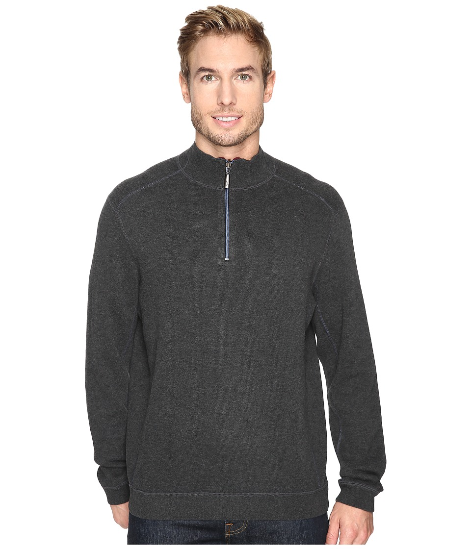 Tommy Bahama - Reversible New Flip Side Pro 1/2 Zip (Onyx Heather) Men's Clothing