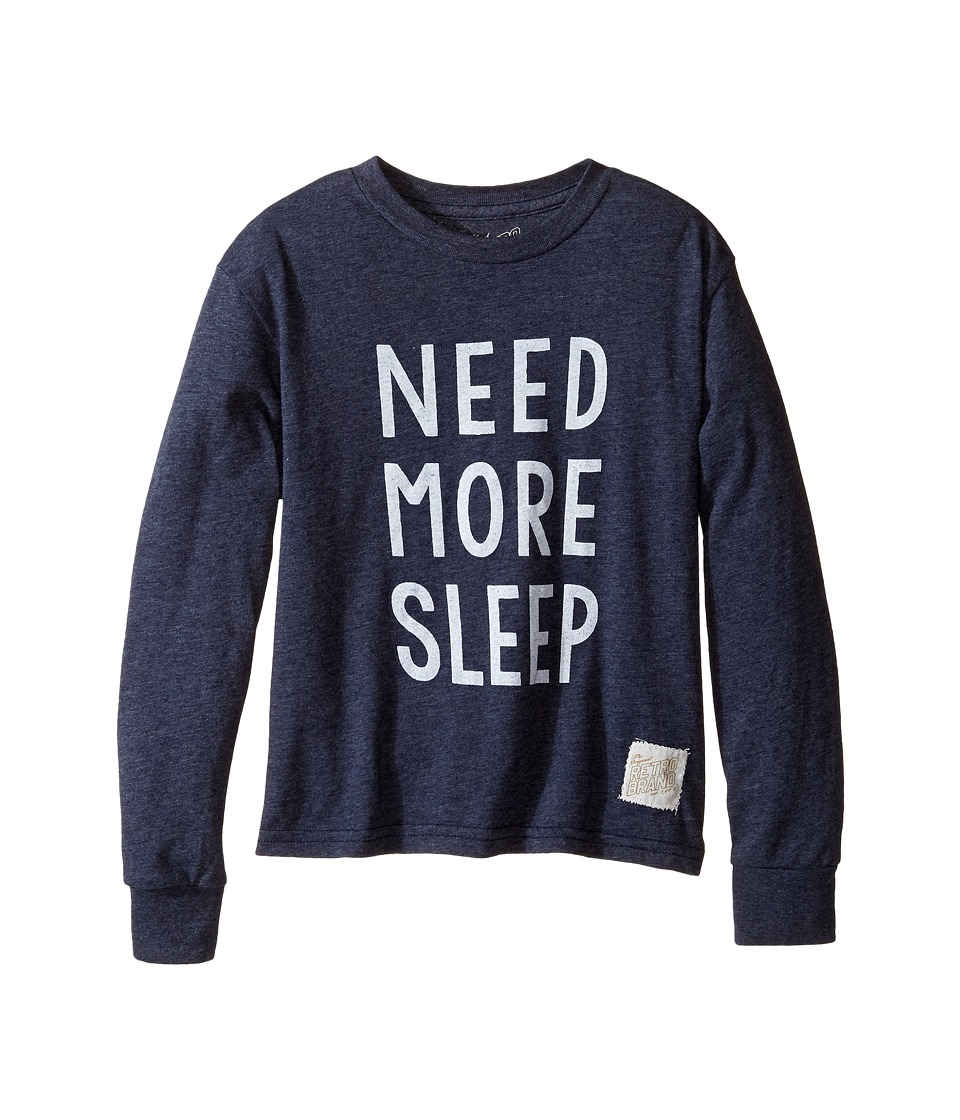 The Original Retro Brand Kids - Need More Sleep Long Sleeve Tri-Blend Tee (Big Kids) (Streaky Navy) Boy's T Shirt