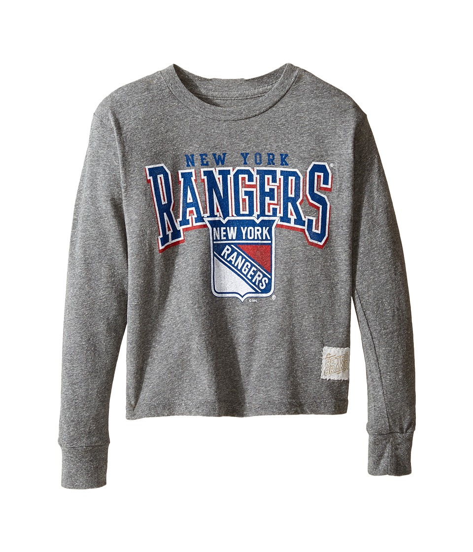 The Original Retro Brand Kids - Long Sleeve Tri-Blend New York Rangers NHL Tee (Big Kids) (Streaky Grey) Boy's T Shirt