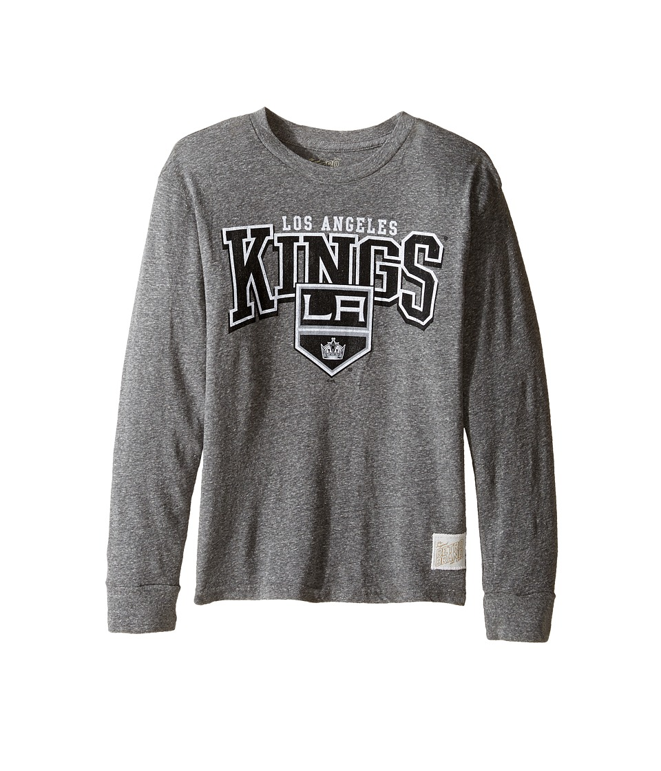 The Original Retro Brand Kids Long Sleeve Tri-Blend La Kings NHL Tee (Big Kids) (Streaky Grey) Boy's T Shirt