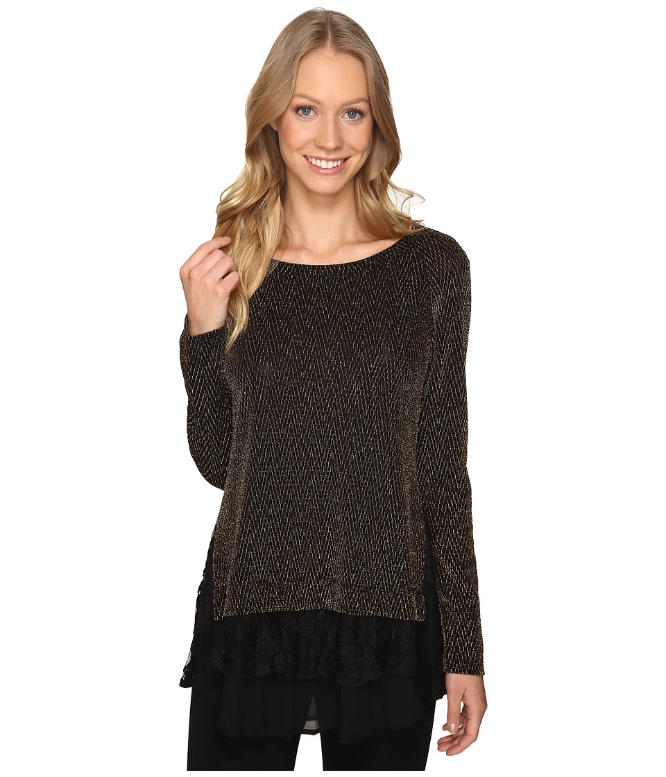 Karen Kane - Lace-Inset Sparkle Top (Black/Gold) Women's Long Sleeve Pullover