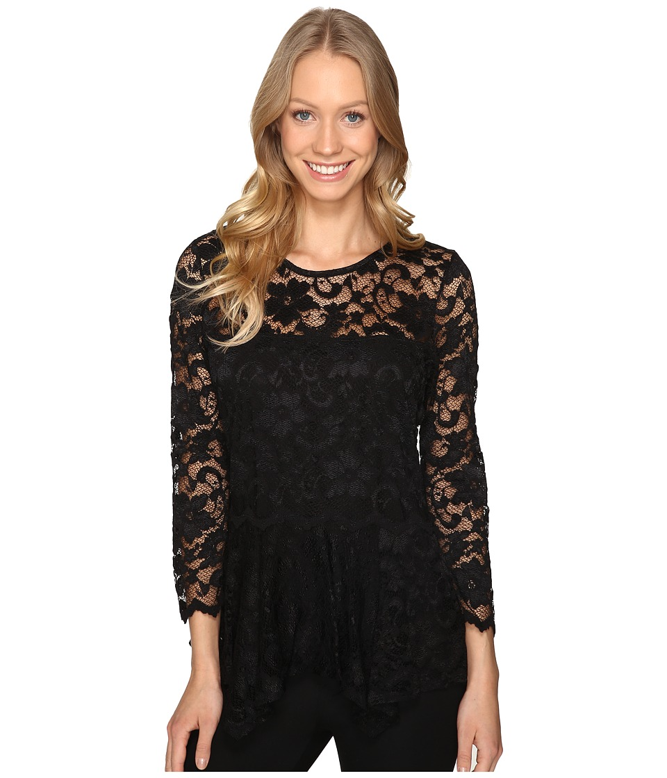 Karen Kane - Lace Peplum Top (Black) Women's Clothing