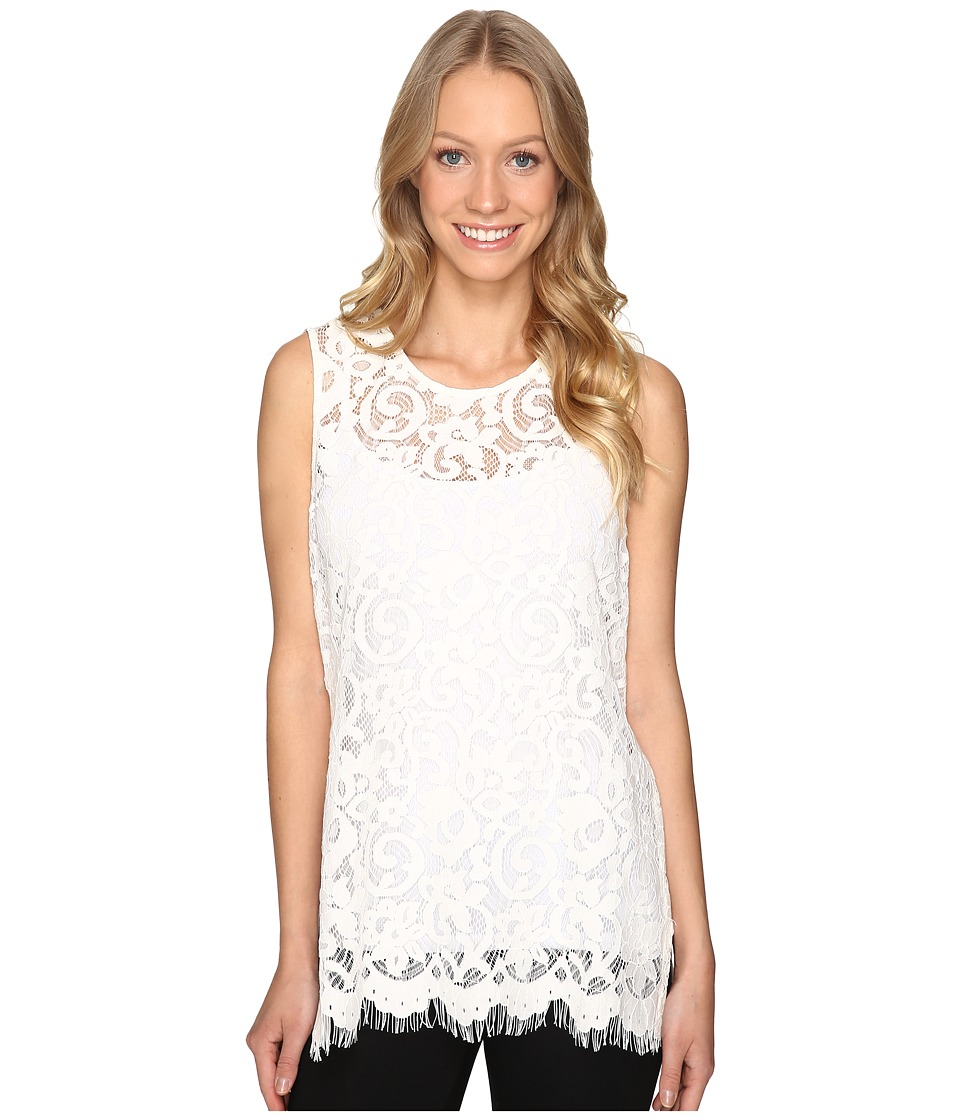 Karen Kane - Side-Slit Lace Tank Top (Cream) Women's Sleeveless