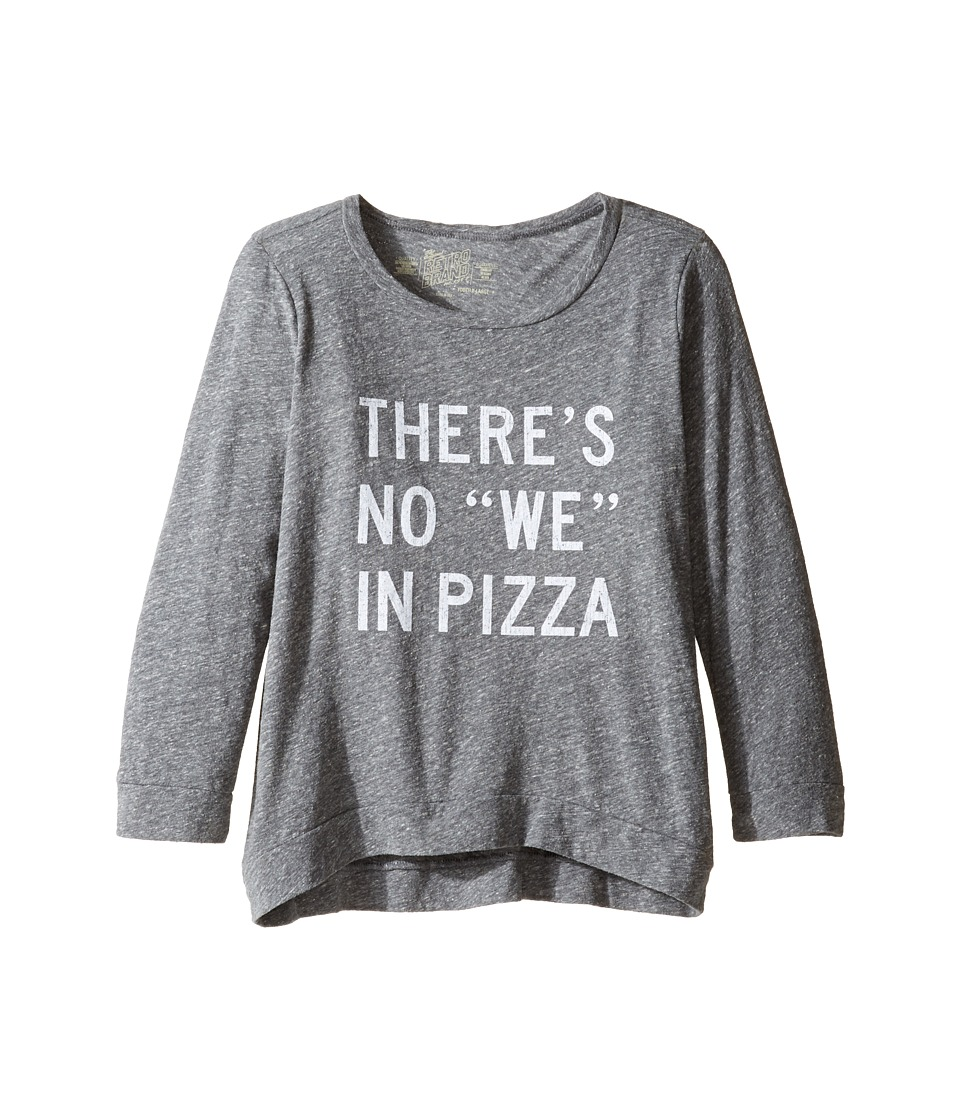 The Original Retro Brand Kids - There's No We In Pizza Tri-Blend Pullover (Big Kids) (Streaky Grey) Girl's Clothing
