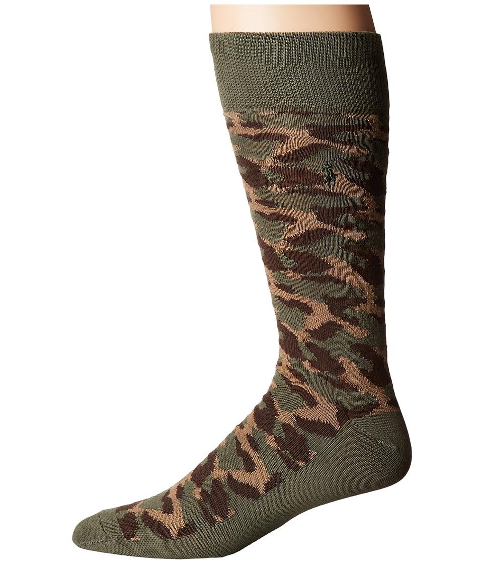 Polo Ralph Lauren - Camo Boot Single (Olive) Men's Crew Cut Socks Shoes