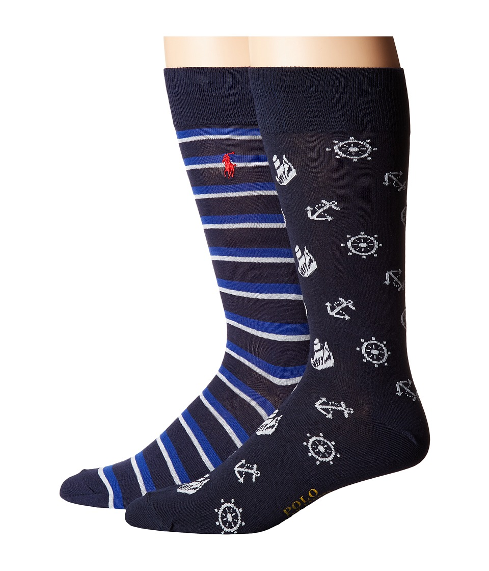 Polo Ralph Lauren - Nautical Icons 2-Pack (Navy) Men's Crew Cut Socks Shoes