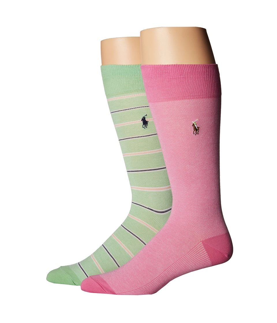 Polo Ralph Lauren - Oxford 2-Pack (Pink) Men's Crew Cut Socks Shoes