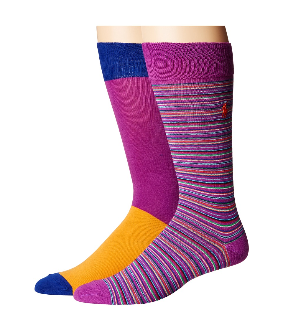 Polo Ralph Lauren - Multi Stripe 2-Pack (Purple) Men's Crew Cut Socks Shoes