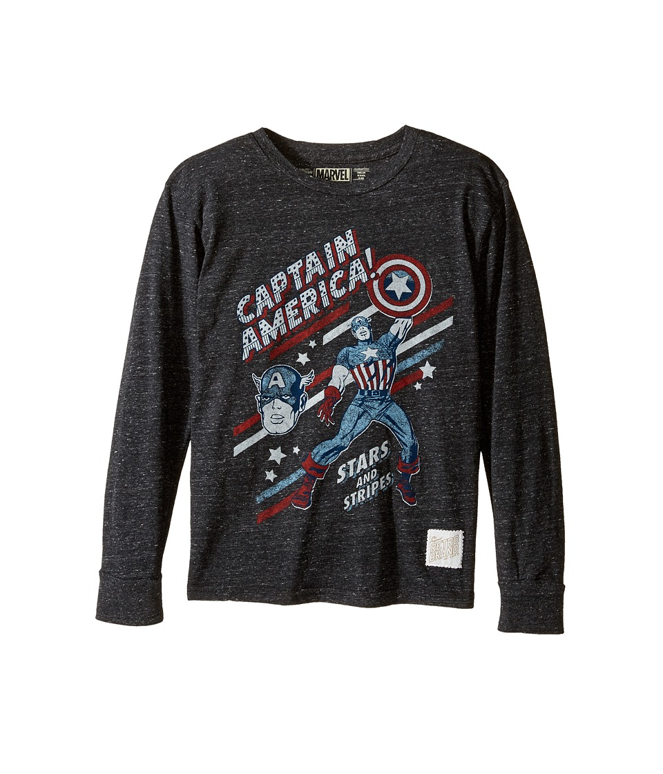 The Original Retro Brand Kids - Captain America Long Sleeve Tri-Blend Tee (Big Kids) (Streaky Black) Boy's T Shirt