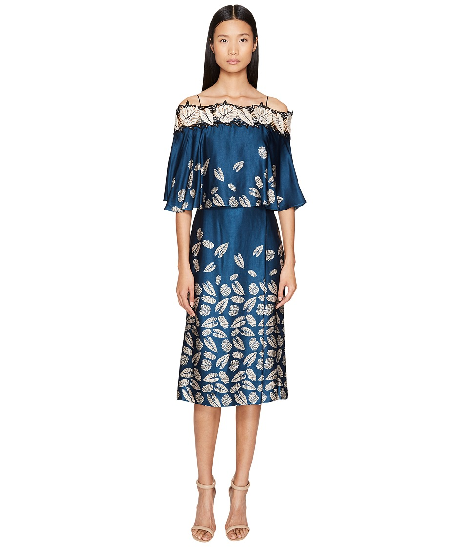 YIGAL AZROUEL - Leaf Embroidered Printed Cold Shoulder Dress (Mariner Blue) Women's Dress