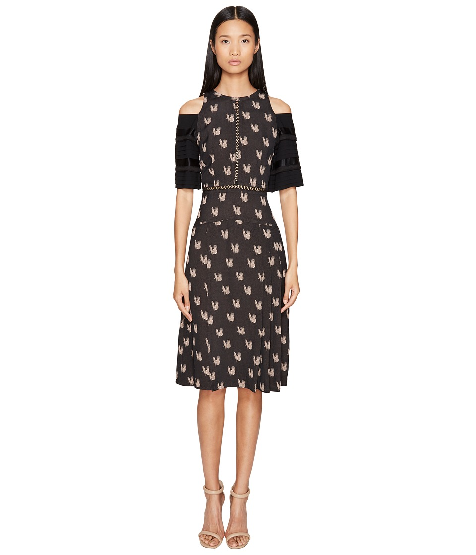 YIGAL AZROUEL Pleating Detail Parakeet Jacquard Dress (Black) Women