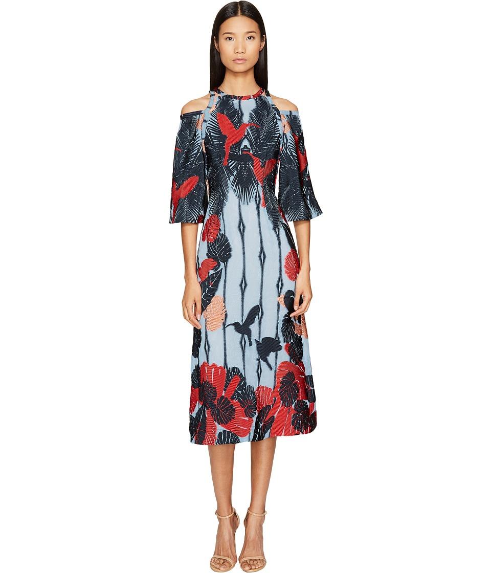 YIGAL AZROUEL Cold Shoulder Flare Dress (Celeste Blue) Women