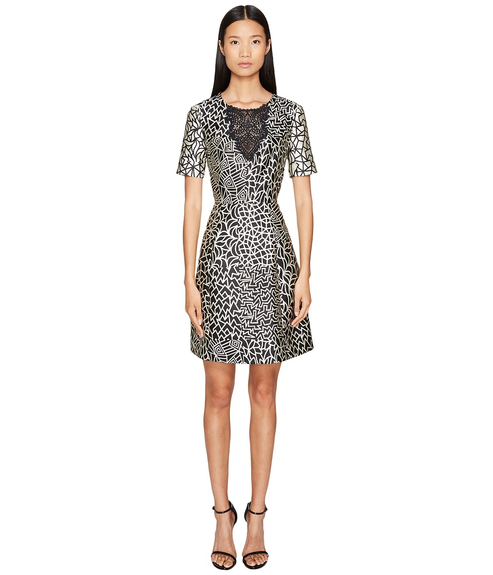 YIGAL AZROUEL Tribal Patchwork A-Line Dress (Jet Multi) Women