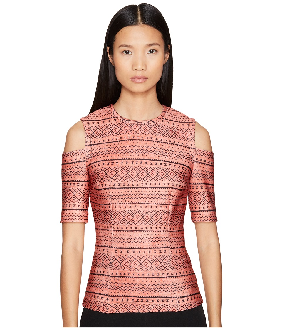 YIGAL AZROU L - Tribal Stripe Printed Scuba Cold Shoulder Top (Sand Multi) Women's Clothing