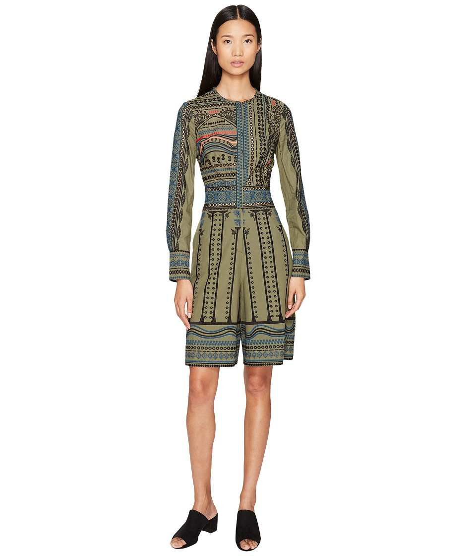 YIGAL AZROUEL - Tribal Embroidered Cotton Romper (Army Multi) Women's Jumpsuit & Rompers One Piece