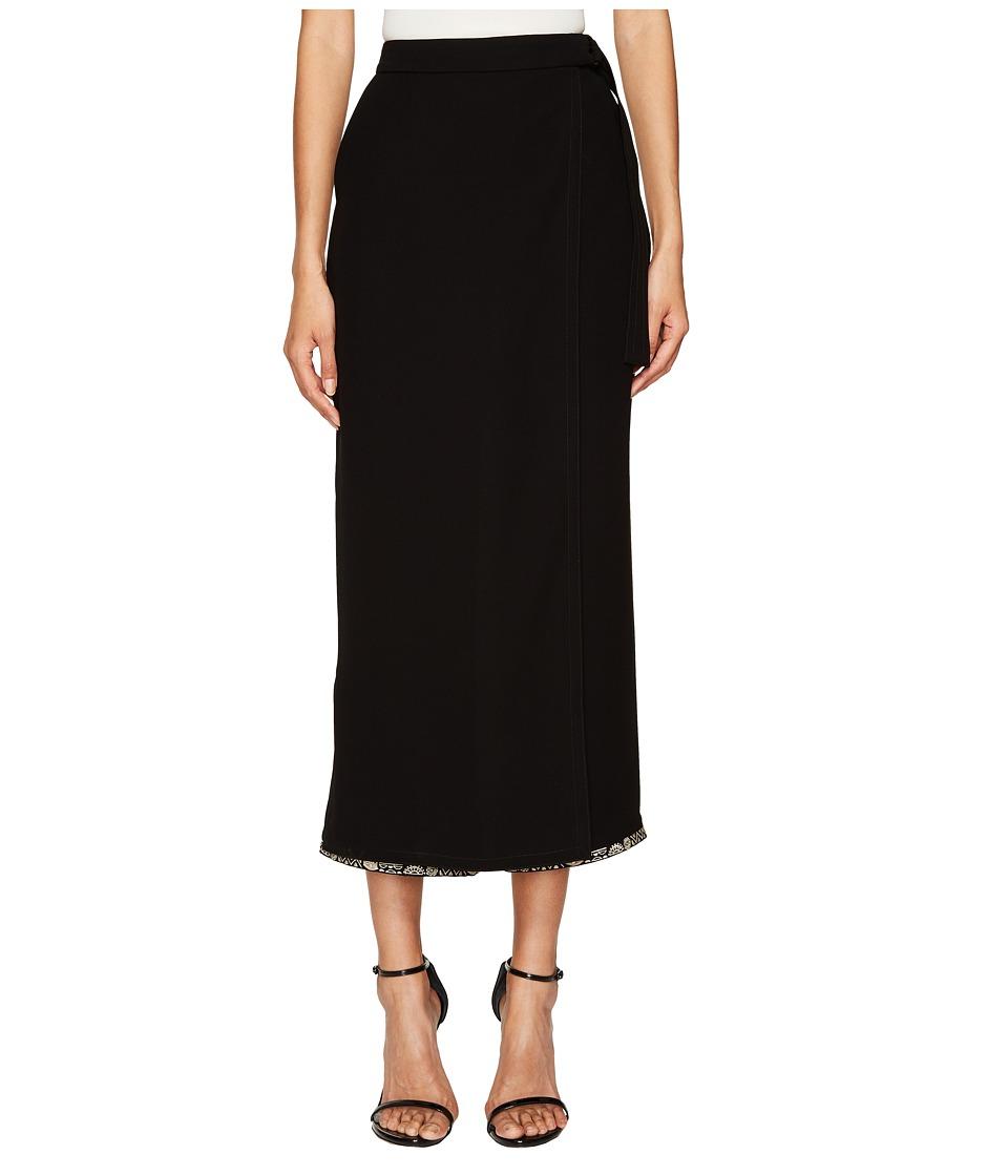 YIGAL AZROUEL Wrap Front Crepe Pants (Black) Women's Casual Pants